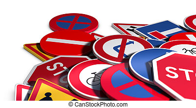 Road or Traffic Signs - 3D illustration of many roadsigns...