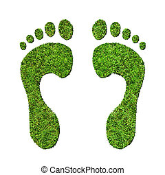 Make Green Footprints - Grass footprints on a white...