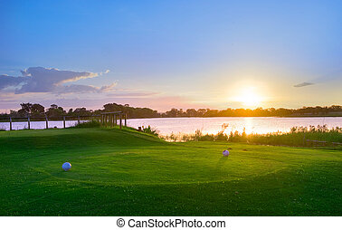 Golf Club Tee - Sunset over Murray Lagoon from the 17th tee...