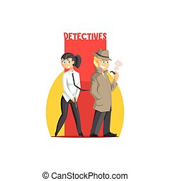 Private Detectives Couple Banner Flat Simplified Colorful...