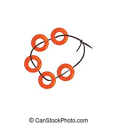 Bread Rings Sheaf On The String Bright Color Detailed...