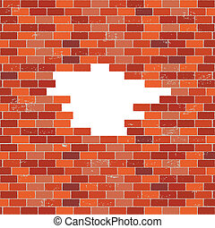 Red brick wall with hole - Red brick wall