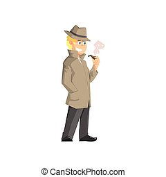 Male Private Detective Flat Simplified Colorful Vector...