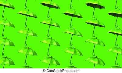 Green Umbrellas On Green Background Loop able 3DCG render...