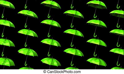 Green Umbrellas On Black Background. Loop able 3DCG render...
