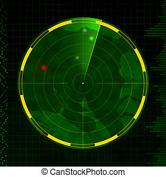 Radar with red target blip and green sweeping arm.