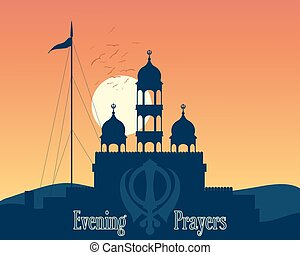 gurdwara sunset - a vector illustration in eps 10 format of...