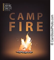 Beautiful campfire in the dark vector. - Illustration vector...
