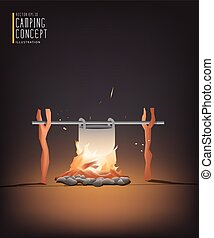 Beautiful Campfire cooking for a living in the night vector....