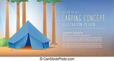 Blue camp tent the among nature of trees and forests vector...