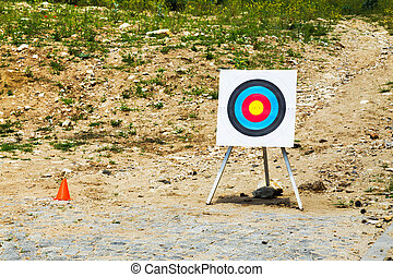 Outdoor empty portable target on a rural shooting range
