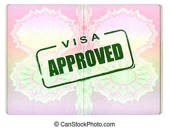 Approved Visa on Passport - Approved Green Visa Stamp on...