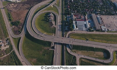 Aerial view of highway interchange in Krasnodar city, Russia...