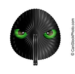 fan and green eyes - white background and the round black...