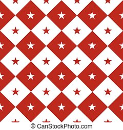 Star Red White Chess Board Diamond Background Vector...