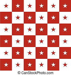 Star Red White Chess Board Background Vector Illustration