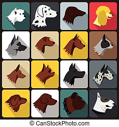 Dog Icons set, flat style - Dog Icons set in flat style for...