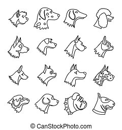 Dog Icons set, outline style - Dog Icons set in outline...