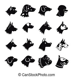 Dog Icons set, simple style - Dog Icons set in simple style...