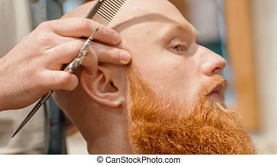 Pleasant bearded man sitting in the barbershop - Like this...