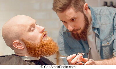 Professional barber cutting beard of his client -...