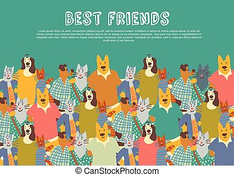 Cats and dogs pets friends big group friendship hugs sky.