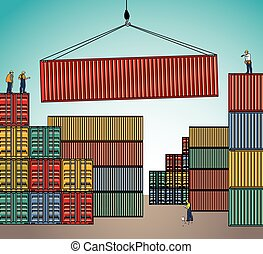 Sea container lading shipping loading cargo transportation.