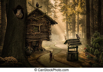 fairy house - fairy witch house beside the path in the dark...