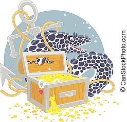 Moray and a treasure chest - Vector illustration of a big...