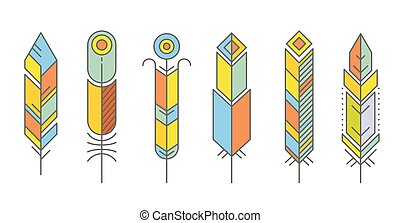 Abstract feather color icons