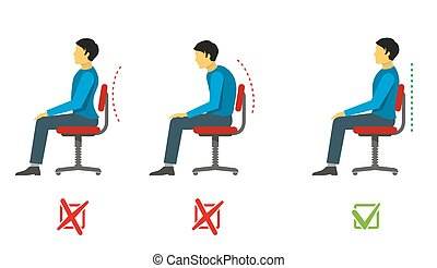 Correct and bad sitting position. Vector medical...