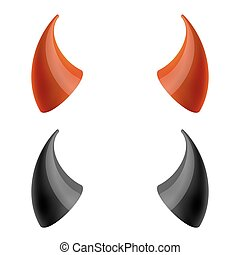 Red and black devil horns. Vector illustration - Red and...
