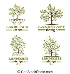 Landscape design company emblems. Tree with roots logo
