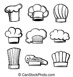 Outline chef hats and toques vector set. Chef hat,...