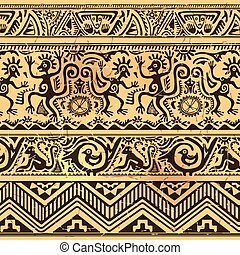 Seamless pattern of African primitive art old