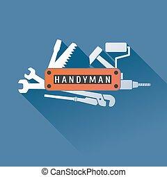 Home repair vector logo, badge, design element. Handyman...