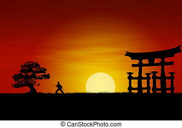 Japanese Sunset - Japanese Samurai fighter silhouette during...
