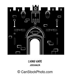 Lion Gate in Jerusalem. - Lion Gate in Old City of...