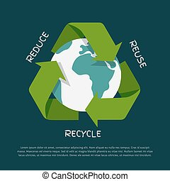 Recycling arrows symbol with Earth globe inside isolated on dark background. Recycle icon, environment concept