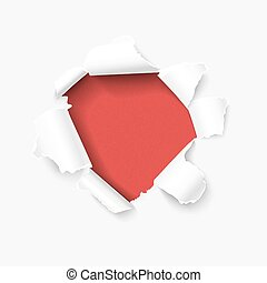 Hole in white paper with torn sides