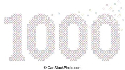 Thousand Anniversary Number Bubbles - Thousand pastel...