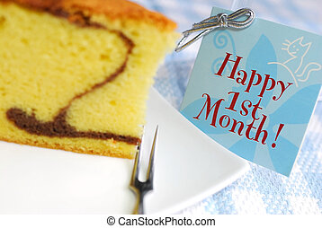 Slice of butter cake and card