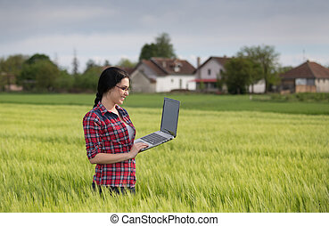 Farmer girl with laptop in field - Young pretty farmer girl...