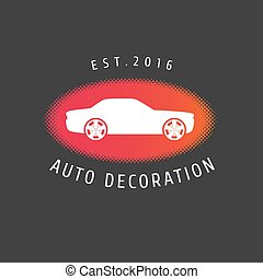 Auto decoration, car paint, spare parts vector logo template...