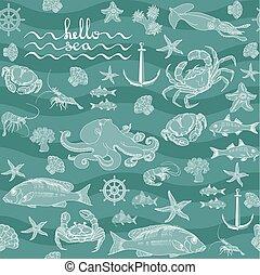 Retro underwater pattern on aquamarine background. -...