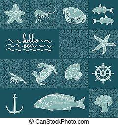 Retro underwater pattern on dark aquamarine background. -...