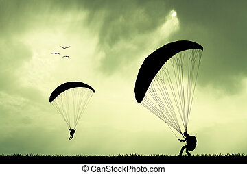 paragliding at sunset - illustration of paragliding at...