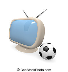 Retro television with soccer ball, 3d rendering