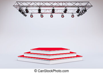 3d template of blank empty podium
