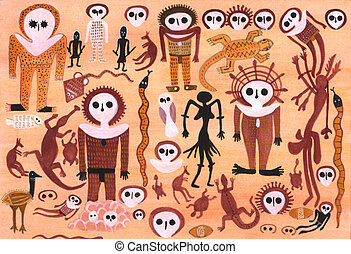 Aborigine painting - Tribal paint in the style of the...